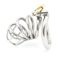 Wholesale Toys Men Device Bondage - wholesale Stainless Steel Male Chastity device Adult Cock Cage With arc-shaped Cock Ring BDSM Sex Toy Bondage Men Chastity Belt