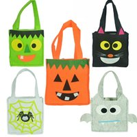 Wholesale Candy Kids Favors Bags - Pumpkin Halloween Candy Gift Bag Ornament Ghost Printing Party Favors Handbag Pattern Spirit Festival Printed Bag Kid Sack Decoration