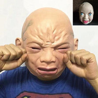Wholesale Latex Dress Style - 2 Styles Crying Baby Face Mask Realistic Halloween Latex Overhead Crying Baby Mask Fancy Dress Props Party Mask CCA7436 100pcs