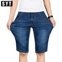 Wholesale Mens Casual Business Jeans - Wholesale- Summer SYT Mens Casual Business Denim Shorts Slim Knee Length Short Elasticity Jeans Stretch Cotton Fabric Hot Sale V7S1S004