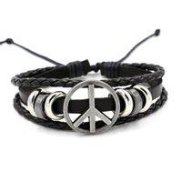 Wholesale Peace American Flag - Fashion lovers present Peace logo leather bracelet for men and women Charm Bracelets cheap good supply simple bracelet wholesale