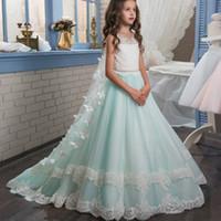 muhteşem kızlar baş toptan satış-Illusion O-Boyun Dantel A-Line Çiçek kızın Elbiseler Boncuklu Bel Katlı Dantel Muhteşem İlk Communion elbise Çıkarılabilir Kapaklar Bow Floeers