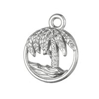 Wholesale Wholesale Claddagh - Silver Plated Beach Palm Tree And Waves & Claddagh Love Loyalty Friendship Charms Zinc Alloy Charms for DIY Necklaces Bracelets Making