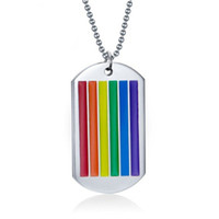 Wholesale Rainbow Chunky Necklace - 24 Inches Stainless Steel Necklaces Rainbow Enamel High-Polished Mens Necklaces Chunky Pendant Necklaces For Men Free Shipping PPN-003