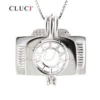 Wholesale Camera Pendant Charm - New Fashion Charm for Women 3pcs Camera Shape 925 Sterling Silver Cage Pendants, 19.9*19.9*10.1mm