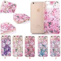 Wholesale Hard Plastic Horse - Liquid Unicorn Horse Flower TPU PC Hard Case For iphone 6 6S Plus 7 I7 Fashion High Heel Bling Glitter Quicksand Skin Star Love Cover 60pcs
