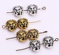 Wholesale Spacer Beads Antique Silver - 100pcs lot metal Leone Lion head Beads Spacer Bead Charms for Jewelry DIY Making Antique Sliver Plated Gold Plated 11x12mm