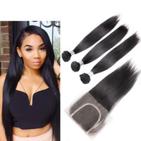 Wholesale Malaysian Closure Full Head - UGlam Free Shipping Straight Malaysian 3 Bundles Human Hair Wefts with Closure 1pc 4X4 size Lace Closure For a Full Head Hair Extensions