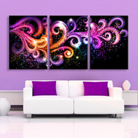 Wholesale Purple Oil Painting Canvas - House Decoration Purple Fantasy LED Flashing Painting LED Abstract Canvas Print Wall Art Decor For Living Room
