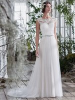 Wholesale Lace Empire Neckline Wedding Dress - New Arrival Sexy Illusion Lace Neckline Wedding Dresses Crystal Beaded Sash Bridal Gowns Appliques A-Line Wedding Dress Zipper 2017