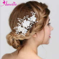 Wholesale Prom Hair Crystal Pieces - Floral Bridal Clip Crystal Flower Wedding Hair Piece Hairpiece Accessories Bride Comb Headpiece Prom Jewelry For Wedding