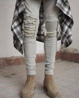 jeans de moda urbana venda por atacado-Atacado- kpop magro rasgado coreano Hip Hop Moda Calças legal Mens urbana roupa macacão Calças de brim dos homens kanye west slp medo de deus