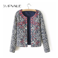 Wholesale American Retro Jacket - Wholesale- European And American Style Women Short Jackets Retro Floral Print Round Neck Long Sleeve Cardigan Female Embroidery Coat 329