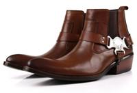 botas de moto tan al por mayor-Gran tamaño EUR45 moda marrón bronceado / punta puntiaguda para hombre botines zapatos casuales de cuero genuino botas de moto con hebilla