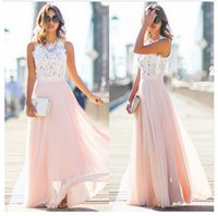 Wholesale Wholesale Lace Maxi Dresses - Europe and the United States the new lace stitching chiffon long dress dress The fashion leisure dress