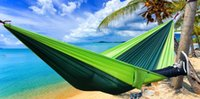 Wholesale camp hammock fold resale online - 270 CM Portable Hammock Double person Hammock Hanging Bed Folded Into The Pouch For Travel Camping Hiking Colors Available