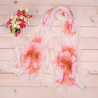 Wholesale silk flower scarf big - 50*160cm Chiffon Scarf Big Flowers Underbrush Long Scarfs For Women Polyester Silk Brand Designer Hijab Wraps Scarves