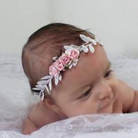 Wholesale Silver Rose Leaf - Baby Flower Garlands Gold Silver Leaf Rose Headbands Floral Headdress Girl Garland Wedding princess headwear Children Hair Accessories KGA16