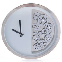 Wholesale Bell Clocks - 16-Inch Black And White Metal Gears Clocks Symmetrical Gear Bell Clock Creative Gifts Product European Style Design with Swiss Movement