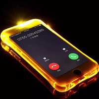 Günstige TPU + PC LED Flash Light Up Fall erinnern eingehenden Anruf Abdeckung für Smart Phone Handy Samsung S7 S6 Edge Note 5 Klare transparente Haut
