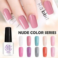 Wholesale Mixed Uv Gel - Wholesale- Sexy Mix Gel Nail Polish Varnish Pure Nude Colors Series Professional UV Lamp Long-lasting Nail Gel Art Design Lacquer 7ML