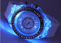 Wholesale Digital Silicone Watch Stone - LED Light Glow Geneva Watches diamond crystal stone Led Light watch unisex silicone jelly candy flash up Wristwatches Sports Watches by DHL
