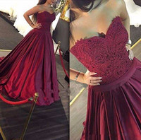 Wholesale Modern Import - 2017 Sexy Burgundy Arabic Dubai Evening Dresses Ball Gown Sweetheart Formal Dresses Evening Wear Imported Party Dresses