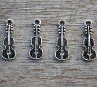 Wholesale Pendant Guitar - 40pcs--Guitar Charms, Antique Tibetan Silver Tone mini Guitars Charm Pendants 24x7mm