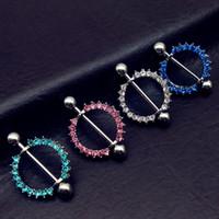 Wholesale Tungsten Blue Diamond Ring - 10pcs luxury Full Diamond lake Light Blue Pink clear Crystal Gem Paved Circle Nipple Shield Rings Body Piercing 14G Body Jewelry