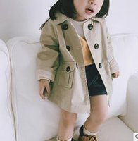 Wholesale Wholesale Double Breasted Girls Coat - Kids coats fashion girls lapel long sleeve outwear children double-breasted khaki windbreaker Autumn new girls double-pockets clothes G0817