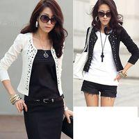 Wholesale Korean Suits For Women White - New jackets for women tops Korean Fashion Shrug Suits Blazer Short Outerwear Coat Long Sleeve off white black Tops