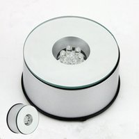 Wholesale Crystal Lighted Display Base - 7 LED Light Stand Turntable Rotating Base Unique 360 Degree Rotating Silver Crystal Display Base Stand 7 colors High Quality LED Light