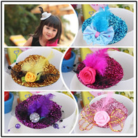 Wholesale Girls Hair Caps - Fashion Hair Jewelry Children Girl Mini Hat Hair Clip Feather Rose Top Cap Lace fascinator Costume Accessory The bride headdress Plumed Hat