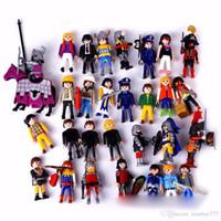 Wholesale Birthday Boy Year - 7.5CM Cartoon Toy Playmobil Kids Children'S Birthday Christmas Gift Action Figure building blocks PVC Retro Boy Girl Model Toy