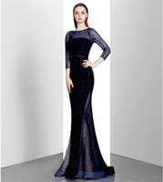 Wholesale Silk Chiffon Evening Cocktail - Sequined Evening Dresses Long Noble Dark Blue Cocktail Dresses Long Sleeve Empire Celebrity Dresses Vintage Style Free Shipping