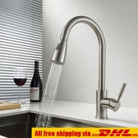 Wholesale Kitchen Faucet Out - Factory Outlet Brushed Nickel Pull Out Faucet Spout Swivel Kitchen Sink Mixer Tap Hot And Cold Single Handle Deck Mounted