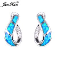 Wholesale Blue Opal Studs - JUNXIN Female Blue Fire Opal Stud Earring With Crystal AAA Zircon 925 Sterling Silver Filled Jewelry Double Earrings For Women