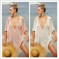 Wholesale Cover Up Swimsuit Shirt Dresses - Bikini beach cover ups women bohemian dresses vacation blouses tassel light pink bandage swimwear swimsuit seaside loose sunscreen shirts