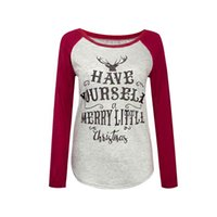 Wholesale Wholesale Long Sleeved Tshirts - Christmas T Shirts Have yourself Merry little Christmas long-sleeved T-shirt Elk Xmas reindeer Deer Tshirts Women Tops Xmas Letter Tee sale