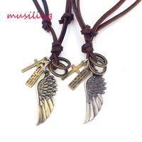 Wholesale Eagle Wing Charms - Leather Necklace Pendants Jewelry Eagle Wing Accessories Metal Pendulum Amulet Hip Hop Women Mens Jewelry Decorations Gifts