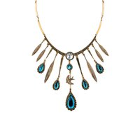 Wholesale Wholesale Artificial Peacocks - Hot statement necklaces leaf artificial gemstone pendant necklaces peacock blue stone necklace bohemian chain jewelry xl01613a