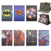 Ipad Mini Casos Batman Baratos-Universal Avengers ajustable Superhéroe Superman Batman Spiderman Flip PU Funda de Cuero para 7 8 10 10.1 10.2 pulgadas Android Tablet PC