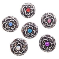 Wholesale Metal Rose Charms - B072 Women Noosa Metal Rose Flowers Chunks 12MM Mini Ginger Snap Button Jewelry for Noosa DIY Bracelets