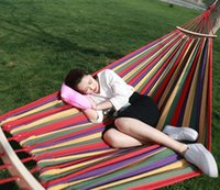 Wholesale Travel Camping Hammock Canvas Sleeping Bed Outdoor Swing Garden Indoor Sleep Rainbow Color Single Person Thicker Hammocks cm DC01