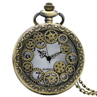 Wholesale Vintage Bronze Copper Necklace - Antique Copper Steampunk Vintage Hollow Bronze Gear Hollow Quartz Pocket Watch Necklace Pendant Clock Chain Men's Women 2017