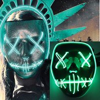 Wholesale El Glow Neon Light Wire - Neon Skull LED Flashing Mask New EL Wire Masks Light Up For Halloween Party Concert Scary Party Theme Trailer Cosplay Payday Glowing Masks