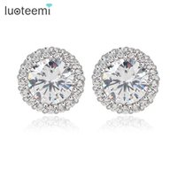 Wholesale Arrow Flowers - LUOTEEMI Hearts & Arrows Perfect Cut Zircon White Gold-Color Stud Earrings for Women Classic Round Zircon With Tiny CZ Earrings
