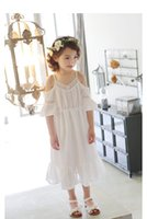 Wholesale Natural White Story - Sandy beach new Girls lace dresses children summer shining party wear kids tutu clothing AAB512DS-31R [Eleven Story]