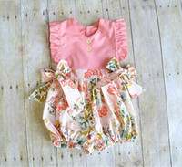 Wholesale Childrens Jumpsuits - 2017 Girls Baby Childrens Jumpsuits Clothing Sleeveless Bow Newborn Onesies Shorts Rompers Summer Toddler Kids Patchwork Boutique Clothes