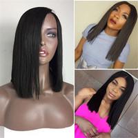Wholesale long layers wig - BOB Cut Human Hair Wig 1B Layer Straight Virgin Hair Full Lace Wig for Black Women Free Shipping